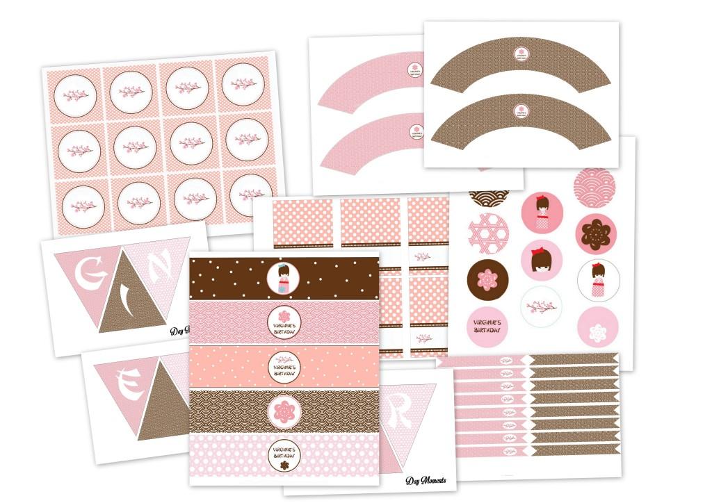 planche d'étude japan rose & brun